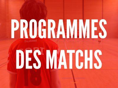 Programme des matchs du 10 & 11 Octobre 2020